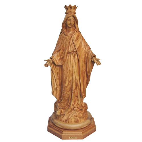 Olive Wood Virgin Mary Statue