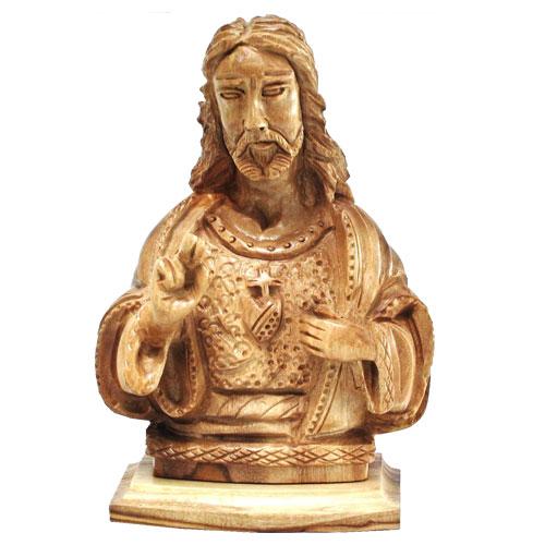 olivewoodhandmadeintheholylandjesussacred-heart-of-jesus-bust
